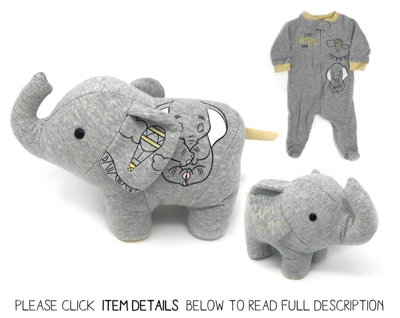 Keepsake Memory Elephant made from baby clothes hospital image 0