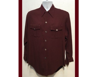 1940/'s Gabardine shirt Vintage Long Sleeve Sport shirt Rayon Patch pocket loop collar Tan Beige Burton Mens Size Small
