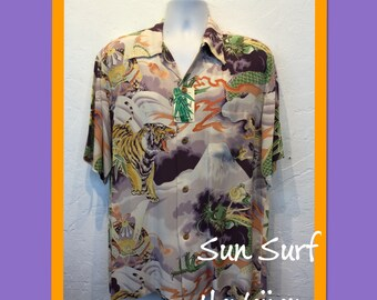 256f39dd3 1940s reproduction Sun Surf rayon Hawaiian shirt. New/old stock with tags  still attached. Currently available in X large only