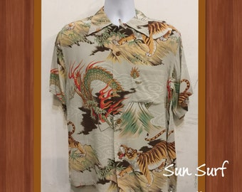52f193d90 1940s reproduction Sun Surf rayon Hawaiian shirt. New/old stock with tags  still attached. Size large only