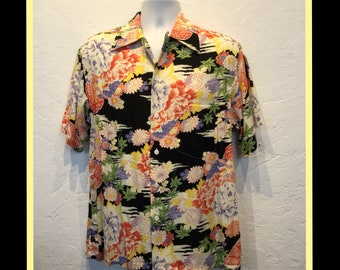 836985b7 Vintage 1940s reproduction gabardine Hawaiian shirt by Kon Bay. Currently  availabe in sizes medium & large.
