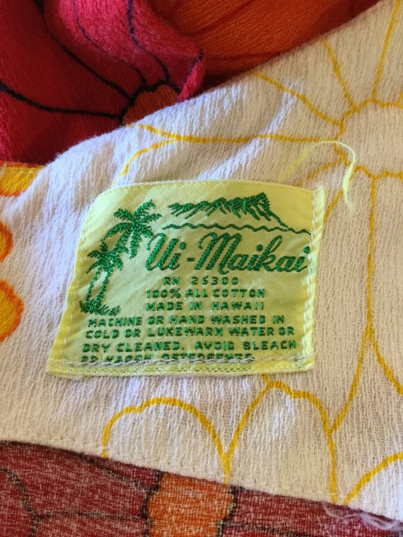 Vintage 1960s/70s tiki hawaiian cotton dress - image 10