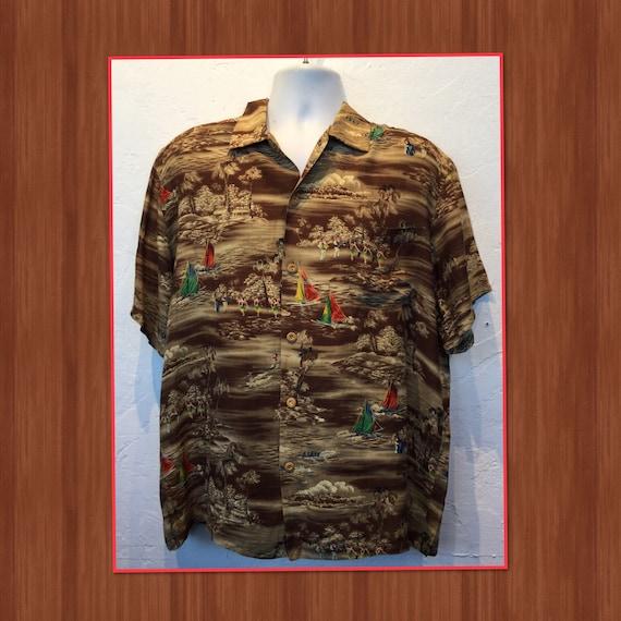 Vintage 1950s rayon Hawaiian shirt. Size X large