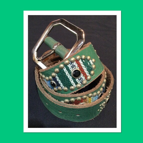 1940s style green leather antique tone studded roc