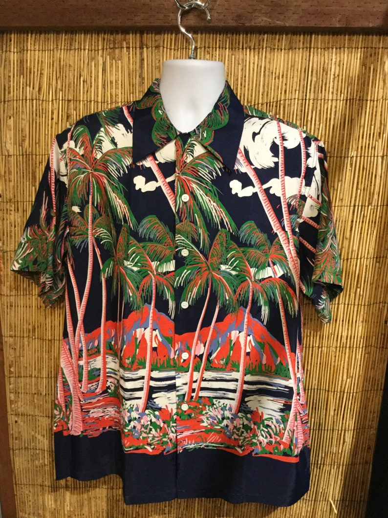 13c397c4e Vintage reproduction 1940s / 1950s Rayon Hawaiian Men's | Etsy