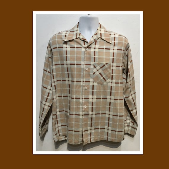Vintage 1940s cotton plaid shirt