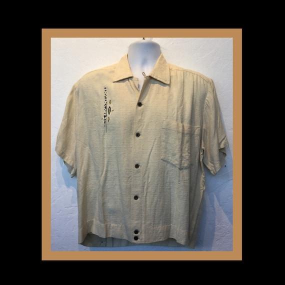 Vintage 1950s nub fleck tiki shirt. Size large