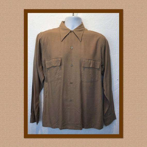 vintage 1940s rayon gabardine shirt