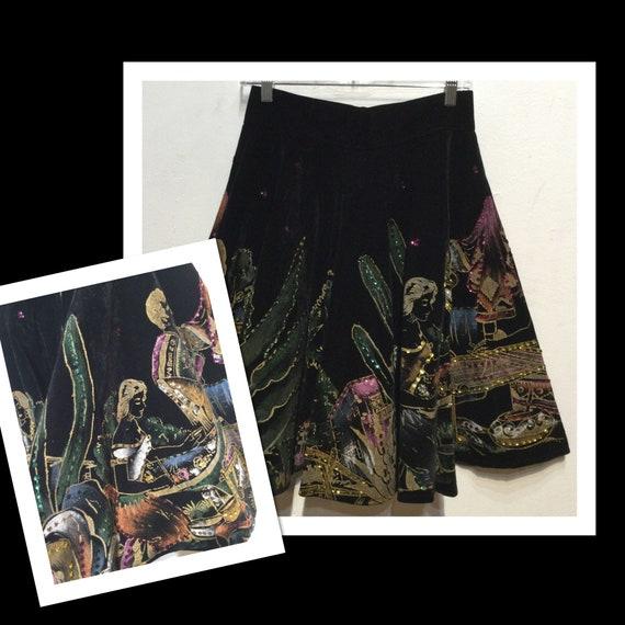 """Vintage 1950s velvet and sequin fiesta skirt 28"""" w"""