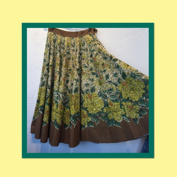 Vintage hand painted 1950s circle skirt