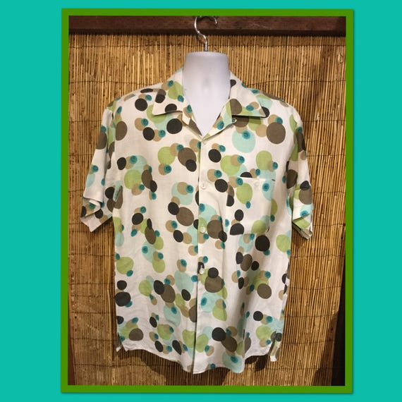 Vintage bubble print loop collar shirt