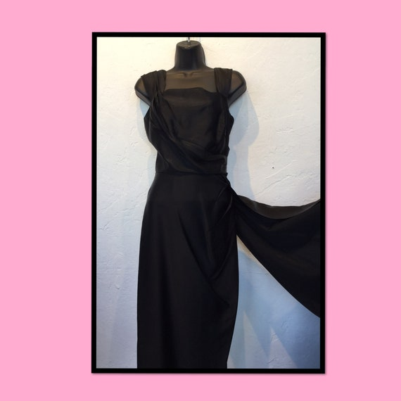 "Vintage 1950s ""Rare"" black satin sarong dress"