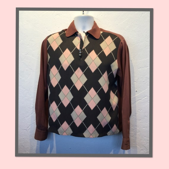 Vintage 1950s Pilgrim diamond shirt. Size small