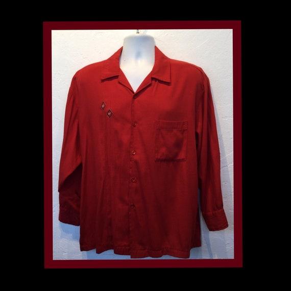 Vintage 1950s rayon shirt. X large