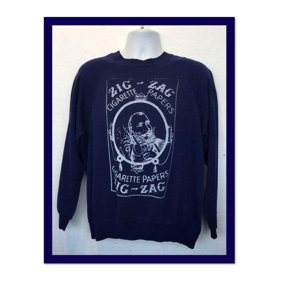 "Vintage printed novelty sweatshirt -""Zig Zag cigar"