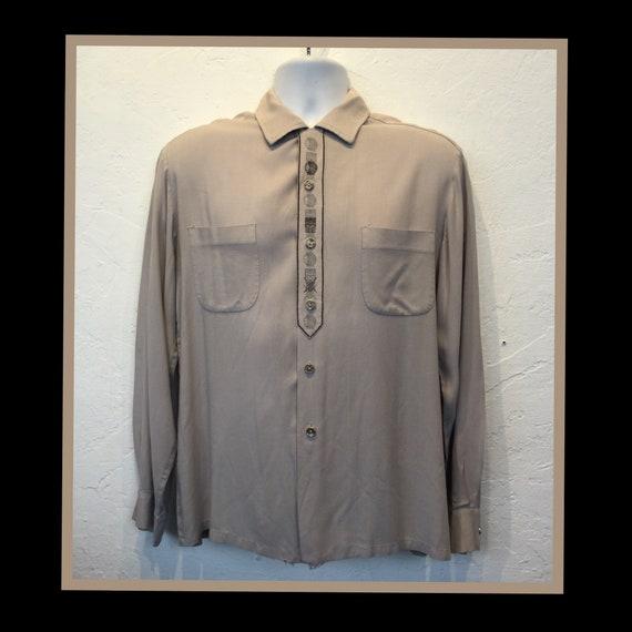 Vintage 1950s rayon gabardine shirt