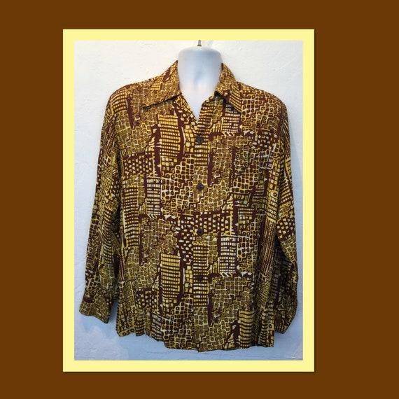 Vintage 1940s rayon long sleeve abstract print shi
