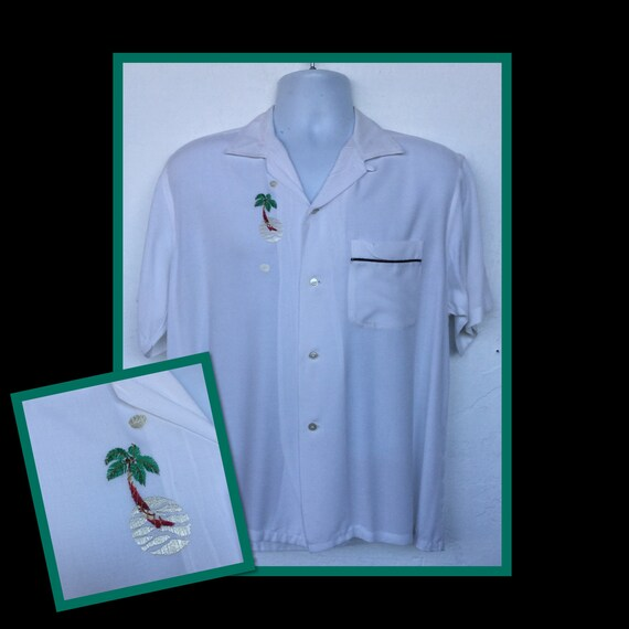 Vintage 1950s rayon palm tree shirt by Towncraft