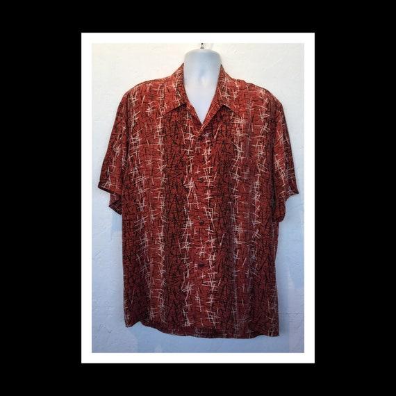 Fantastic !! Vintage 1950s rayon fleck shirt. Size