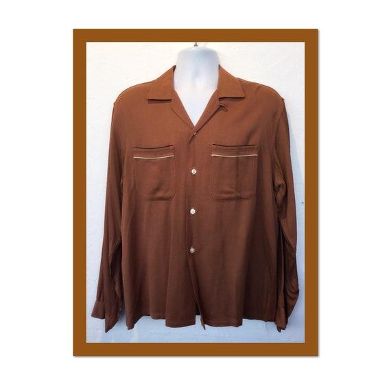 Vintage 1950s pin rayon shirt