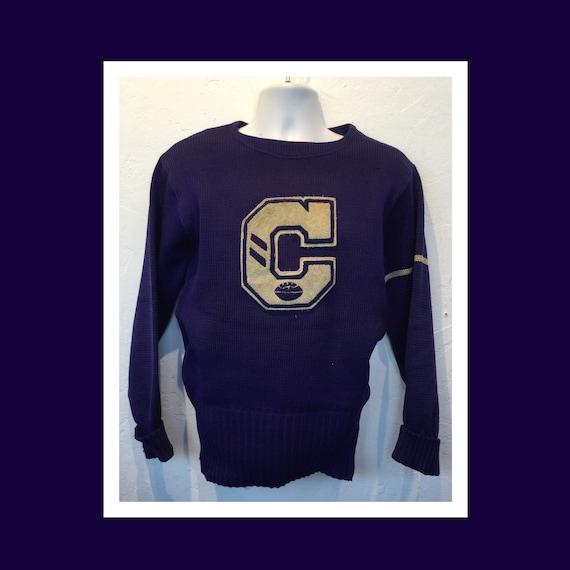 Vintage 1930s/40s husk wool lettermen's  sweater