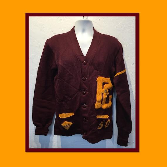 Vintage 1950s husk wool letterman cardigan sweater