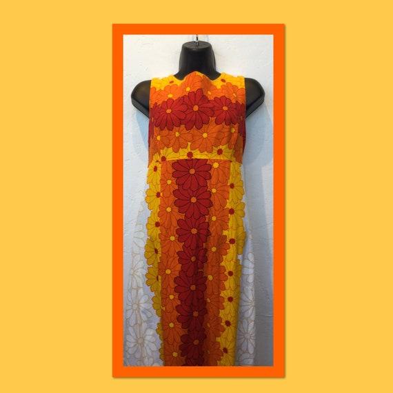 Vintage 1960s/70s tiki hawaiian cotton dress - image 1