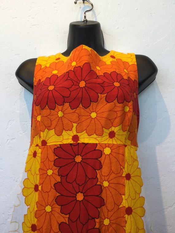 Vintage 1960s/70s tiki hawaiian cotton dress - image 3