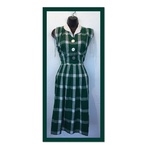 Vintage 1940s/50s plaid day dress
