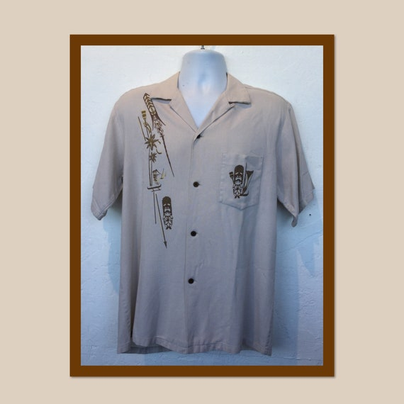 Vintage 1950s tiki fire torch shirt. Size large