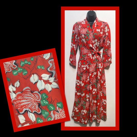 Fantastic vintage 1940s rayon Hawaiian wrap dress