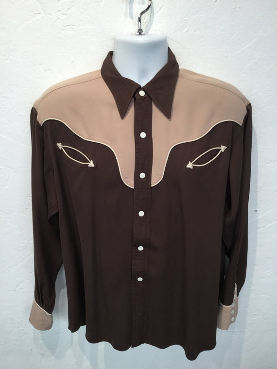 Vintage 1950s two tone western shirt - image 5