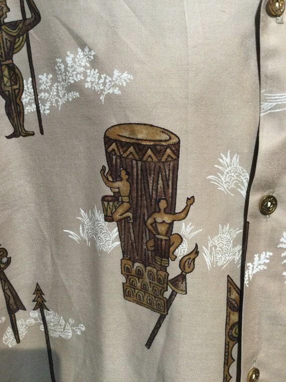 Vintage 1950s/60s tiki drummer cotton Hawaiian sh… - image 5