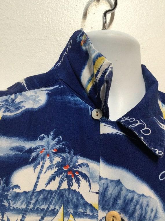 Vintage 1950s rayon Hawaiian shirt. Size large - image 7