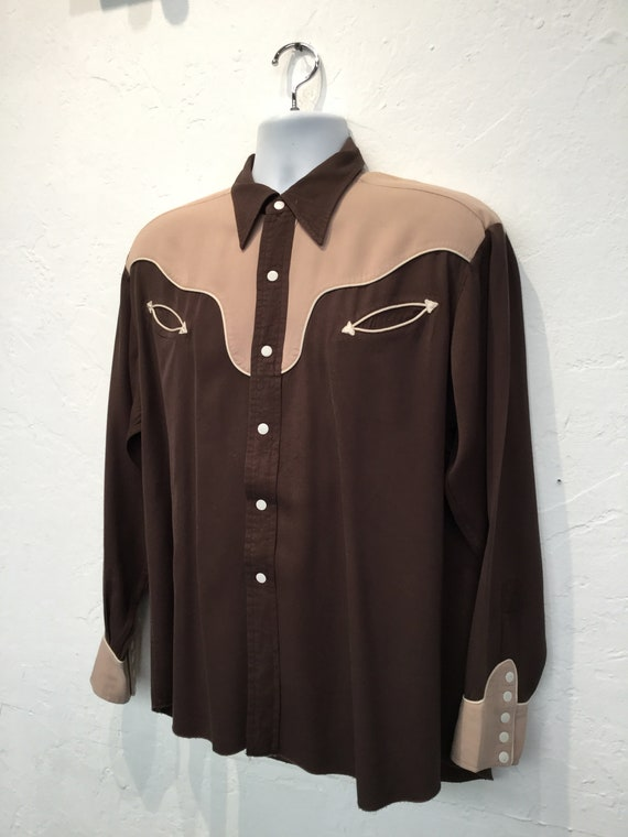 Vintage 1950s two tone western shirt - image 3