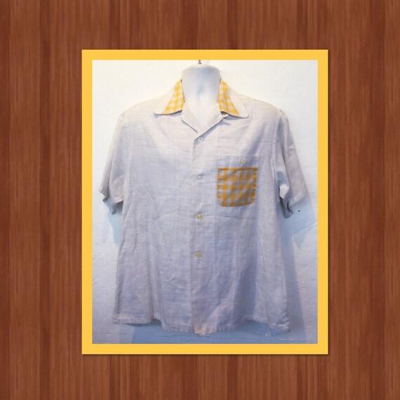 Vintage 1950s two tone shirt. Size large