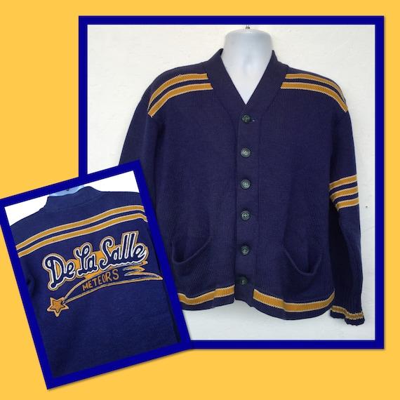 Vintage 1940s Meteors collegiate cardigan sweater