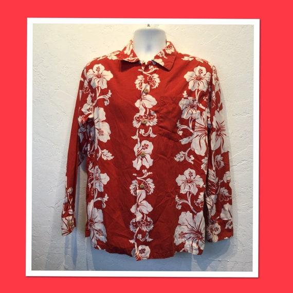 Vintage 1950s border print long sleeve cotton Hawa