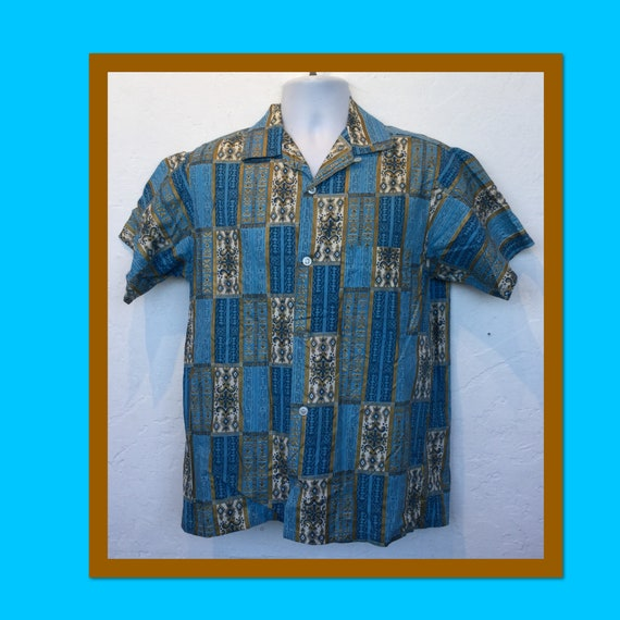 Vintage 1950s abstract print shirt with hand paint