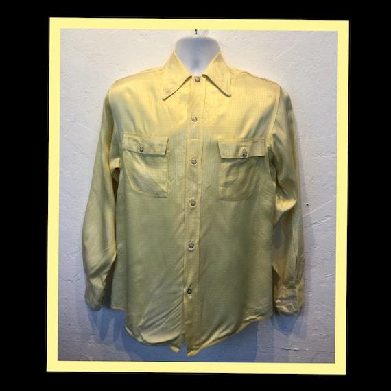 Vintage1950s yellow silk western shirt