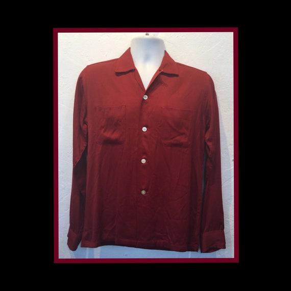 Vintage 1950s red gabardine shirt