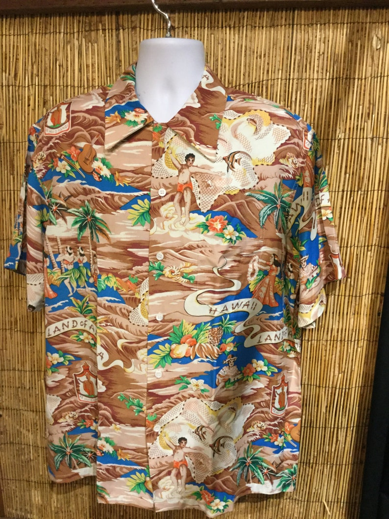 69ece9c59 Vintage 1940's Reproduction Land of Aloha Kona | Etsy