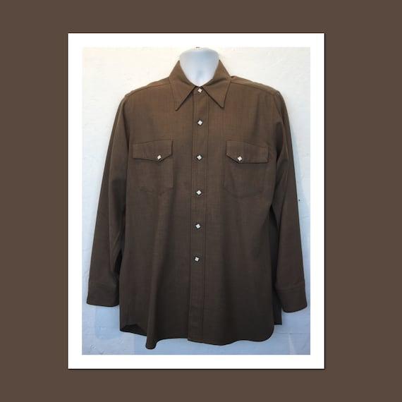 Vintage brown gabardine western shirt