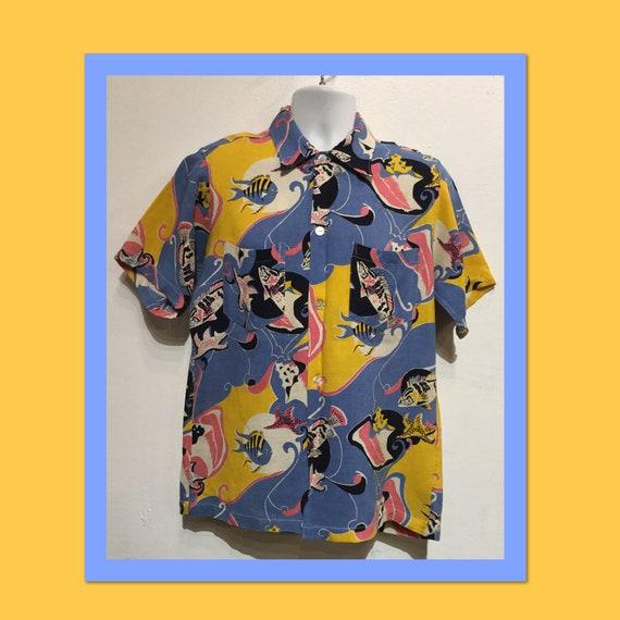 Vintage 1930s-40s twill Hawaiian shirt. Size mediu