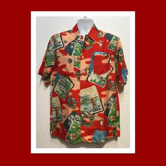 Vintage 1940s silk Hawaiian shirt