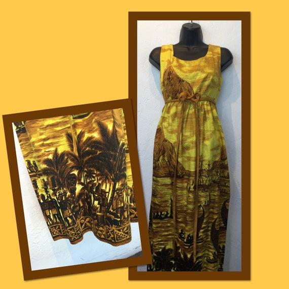 """Vintage 1960s Hawaiian cotton dress. 26"""" waist - image 1"""