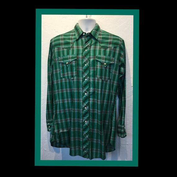 Vintage 1950s Levi cotton plaid western shirt