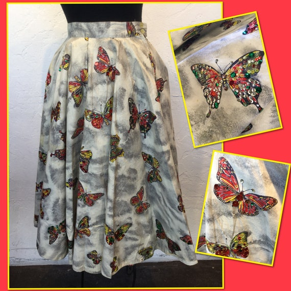 Vintage 1950s hand painted butterfly circle skirt