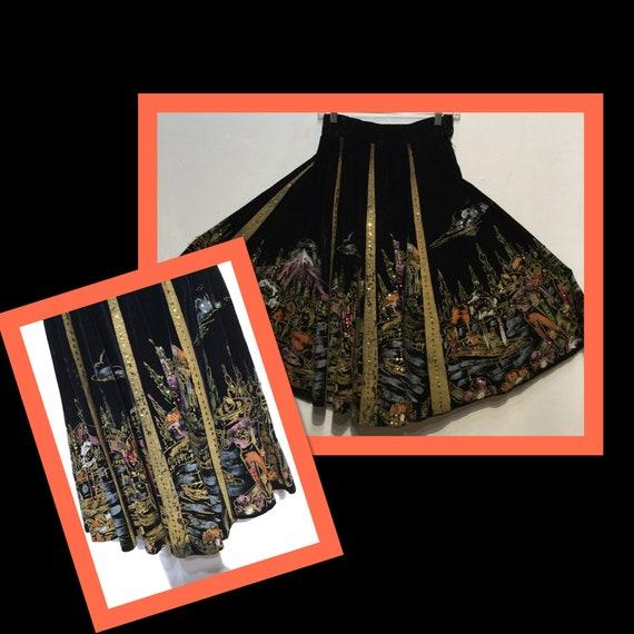 Vintage 1950s velvet sequin fiesta skirt. Hand pai