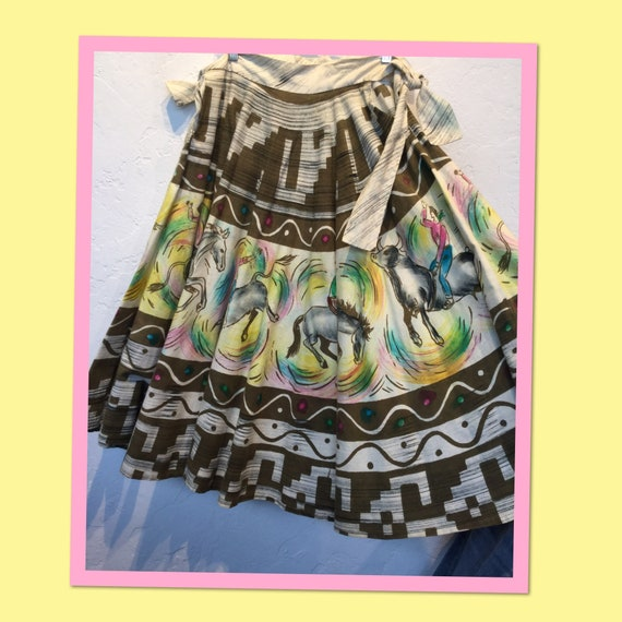 Vintage 1950s western hand painted circle shirt  2